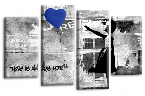 Banksy Wall Art Canvas Blue Balloon Girl Picture Love Peace Multi Panel